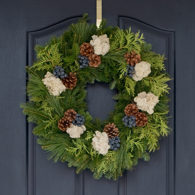 Blueberry Fresh Balsam Christmas Wreaths with Reindeer Moss, and Pinecones