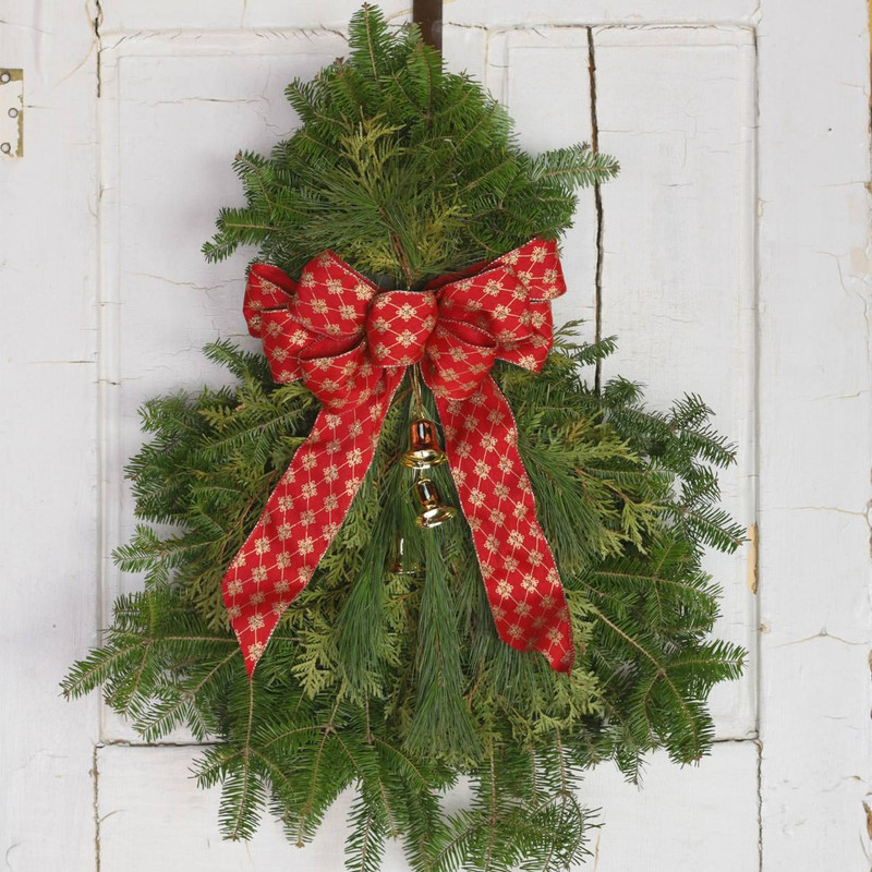 ... Fresh Holiday door swag of balsam fir pine and cedar brass bells and ... & Christmas Swag | Classic Evergreen Swag | Christmas Decoration