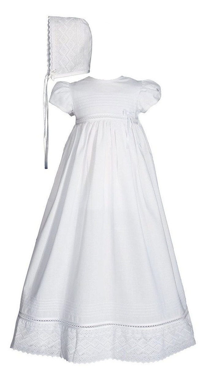 Christening Gown Baptism Gown with Lace and Ribbon