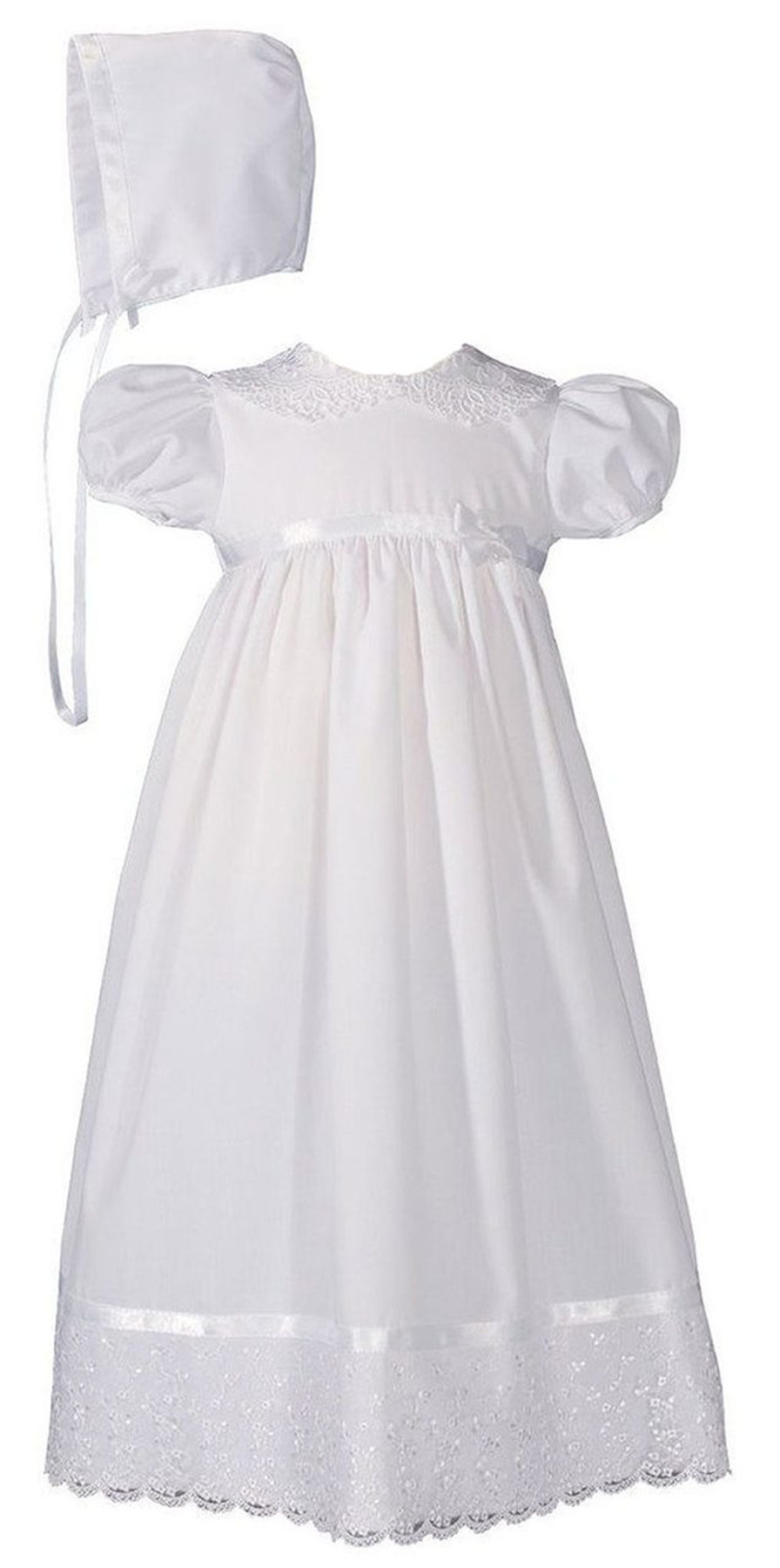 Christening Baptism Gown with Lace Collar and Hem, Girls 24″ Poly Cotton