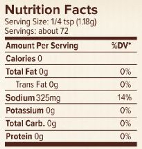 Seasonest Soul Food Mild Spice Blend Nutrition Facts