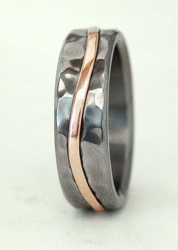 wave ring with gold inlay