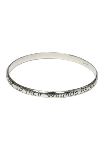 """He heals the broken hearted and binds up their wounds."" Psalm 147:3 Bangle Bracelet"
