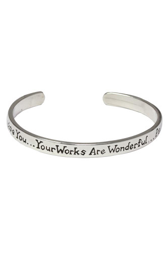 "Mom-""I will praise YOU..."" Sterling silver cuff bracelet. Psalm 139:14"
