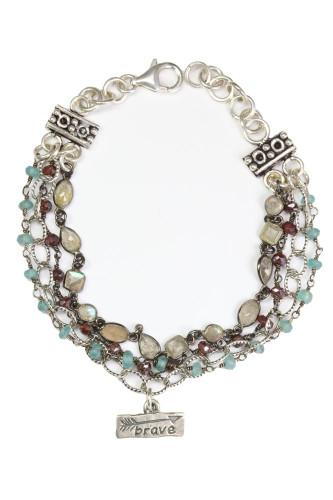 Blue-Brave Bracelet 4 strands of precious/semi-precious stones.