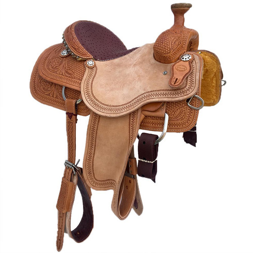 New Roping Saddle by Fort Worth Saddle Co with 14 inch seat. Light-oil half breed with real plum ostrich half seat. Gullet size is 6.5 inch. Made in USA. Limited lifetime warranty.