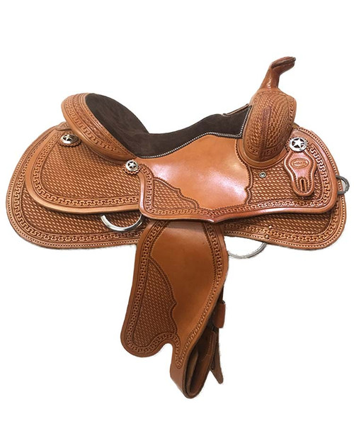 "Reining saddle made in USA by Ft Worth Saddle Co. 14.5"" seat, 6.5"" gullet. Limited lifetime warranty on tree."
