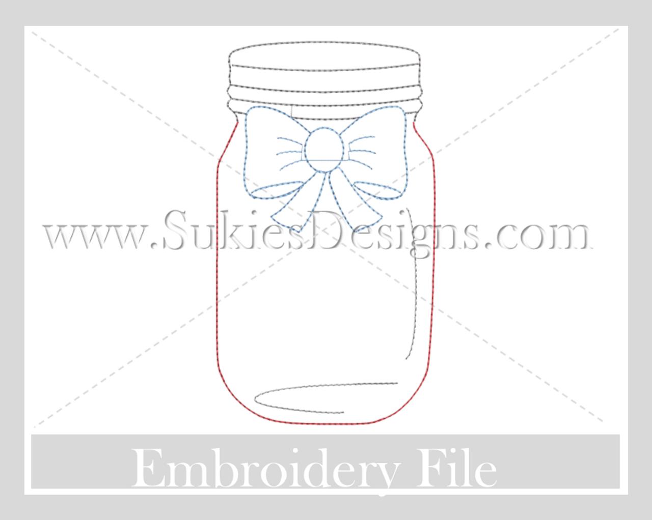monogram 4th ofjuly mason jar quick stitch embroidery design