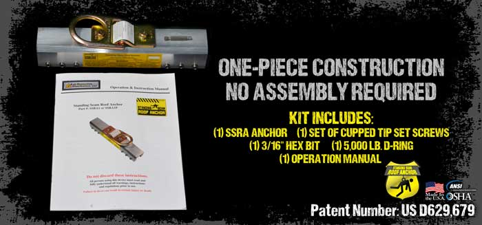 Standing Seam Roof Anchor SSRA1 - Fits 95% Of Today's Standing Seam Profiles!