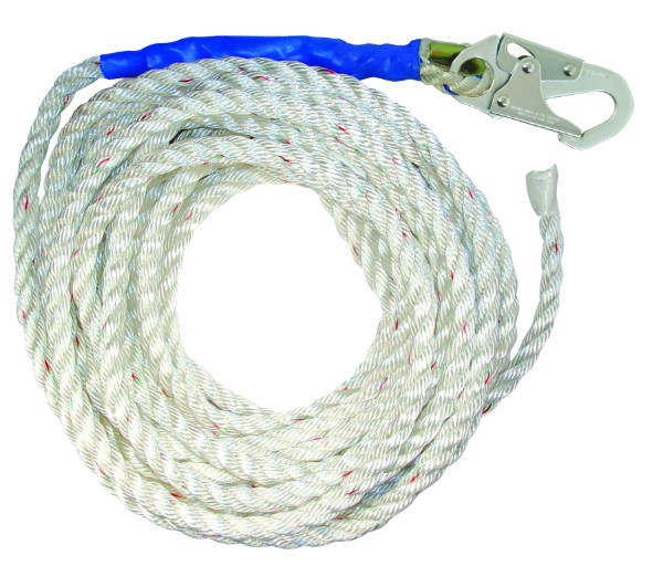 """FallTech 8125T 5/8"""" Premium Polyester Rope w/ 1 Snap Hook and Taped End, Available in 25', 30', 50', and 100' Lengths"""