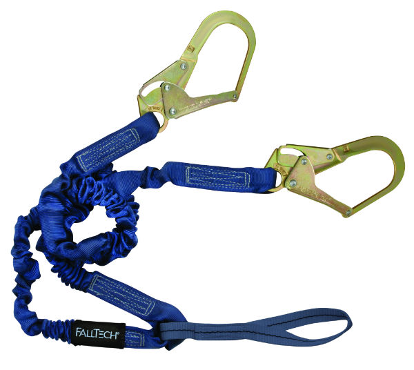 FallTech 8240Y3L Elastech Y-Leg Internal Elastic Lanyard, Expands 4.5'-6', 1 Loop and 2 Rebar Hooks