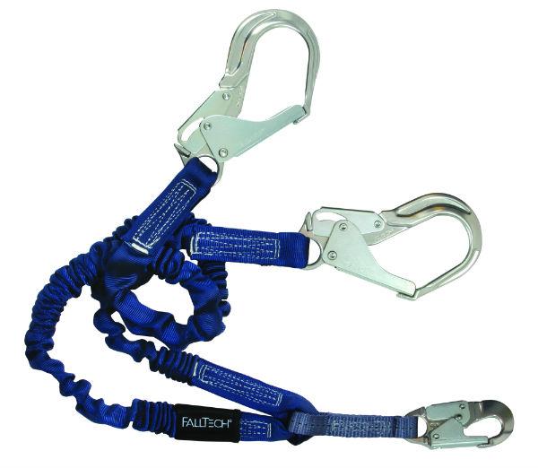 FallTech 8240Y3A 6' Elastech Y-Leg Lanyard, 1 Aluminum Snap Hook and 2 Aluminum Rebar Hooks, Expands 4.5'-6'