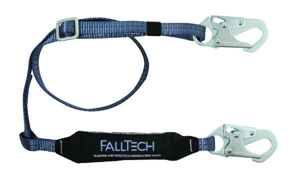 FallTech 8257 ViewPack Web Shock Absorbing Lanyard, Single Leg w/ 2 Snap Hooks