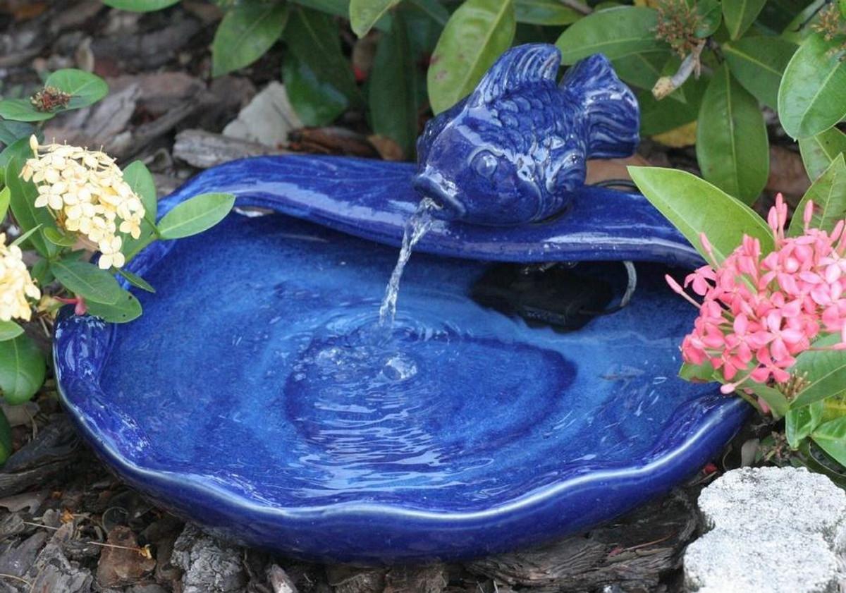 Smart Solar Ceramic Koi Fountain Solar Water Fountain