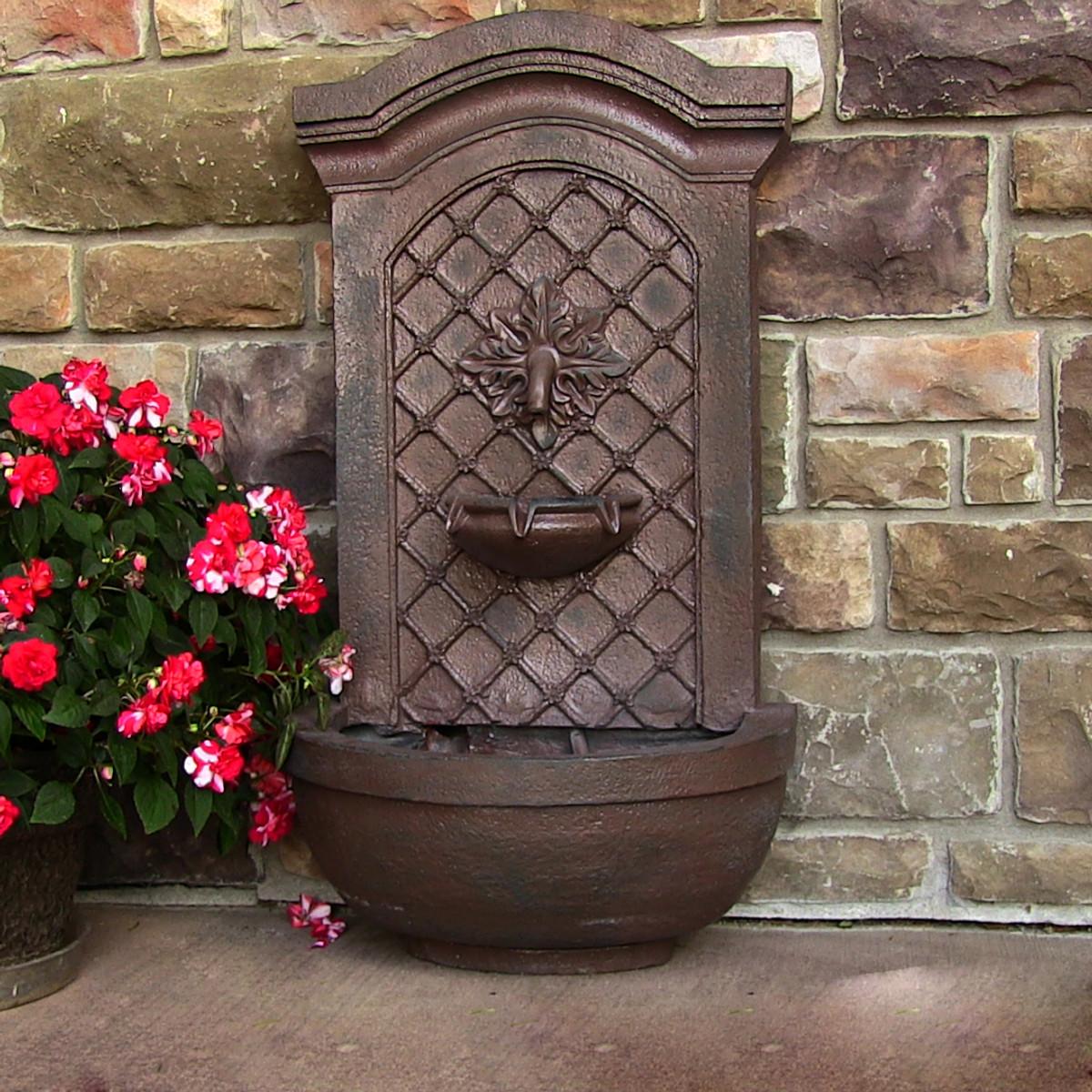 Sunnydaze Rosette Solar Wall Fountain Outdoor Fountain
