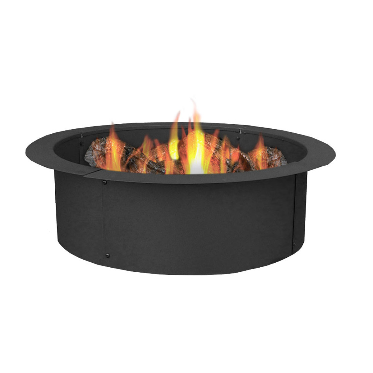 Sunnydaze durable steel fire pit ring liner diy fire pit rim above or in ground
