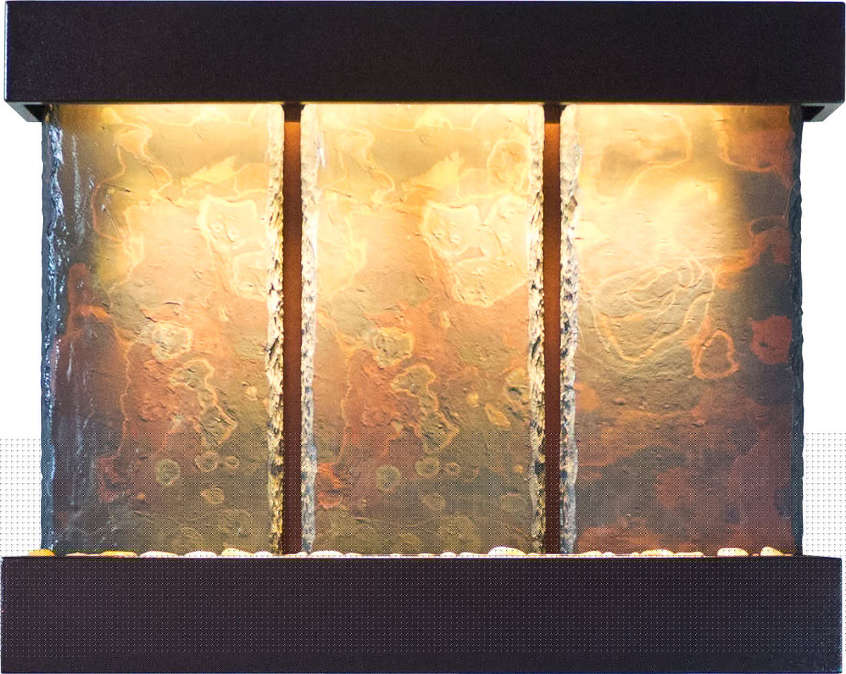 Bluworld Triptych Falls Vertical Wall Fountain with Copper Vein ...