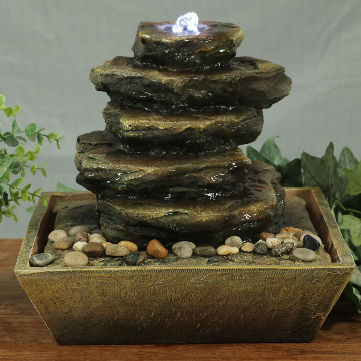 Charmant Sunnydaze Cascading Rocks Tabletop Fountain With LED Lights, 12 Inch Tall