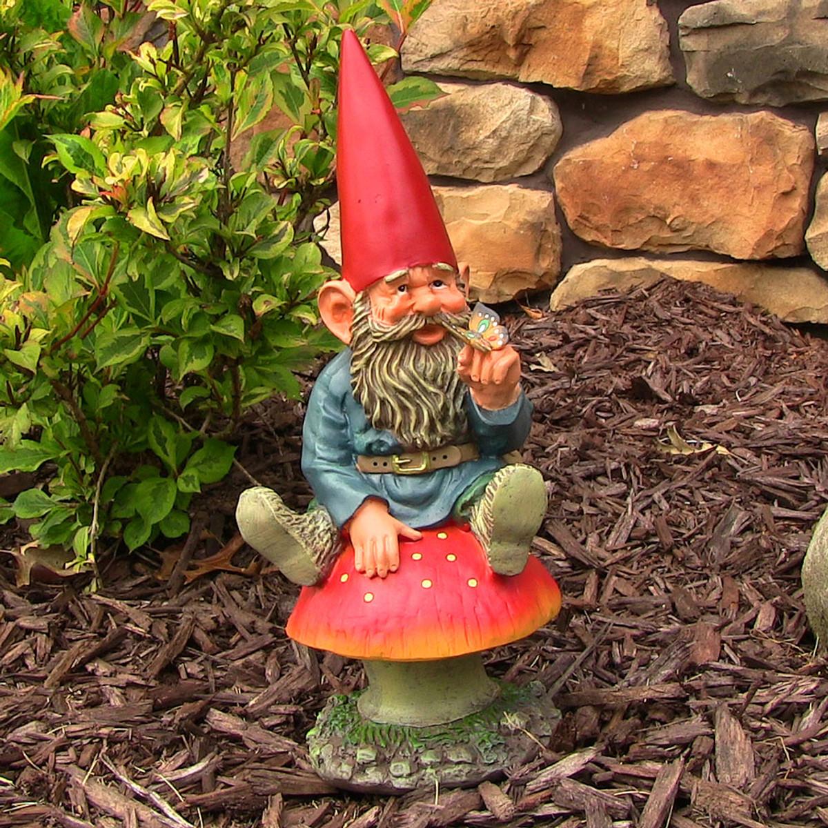 Gnome In Garden: Sunnydaze Adam With Butterfly Garden Gnome