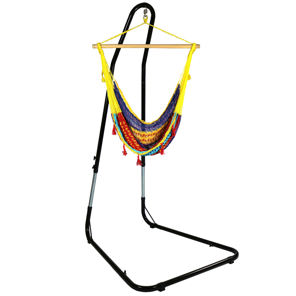 Sunnydaze Mayan Rope Hammock Chair And Adjustable Stand, Comfortable  Hanging Swing Seat