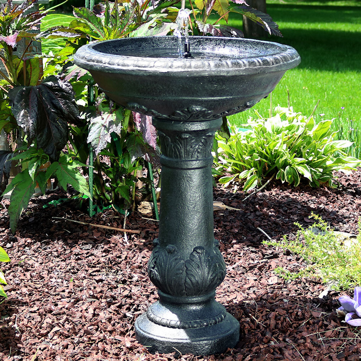Exceptionnel Sunnydaze Oasis Solar On Demand Outdoor Bird Bath Water Fountain, 26 Inch  Tall, Includes Battery Pack