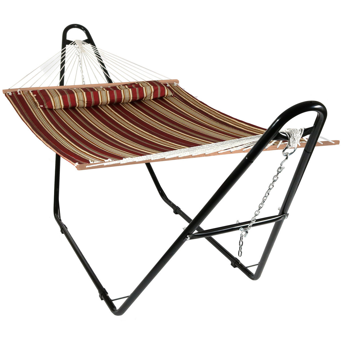 two person hammock with stand. Sunnydaze Quilted Double Fabric 2-Person Hammock With Multi-Use Universal Steel Stand, Red Stripe, 440 Pound Capacity Two Person Stand