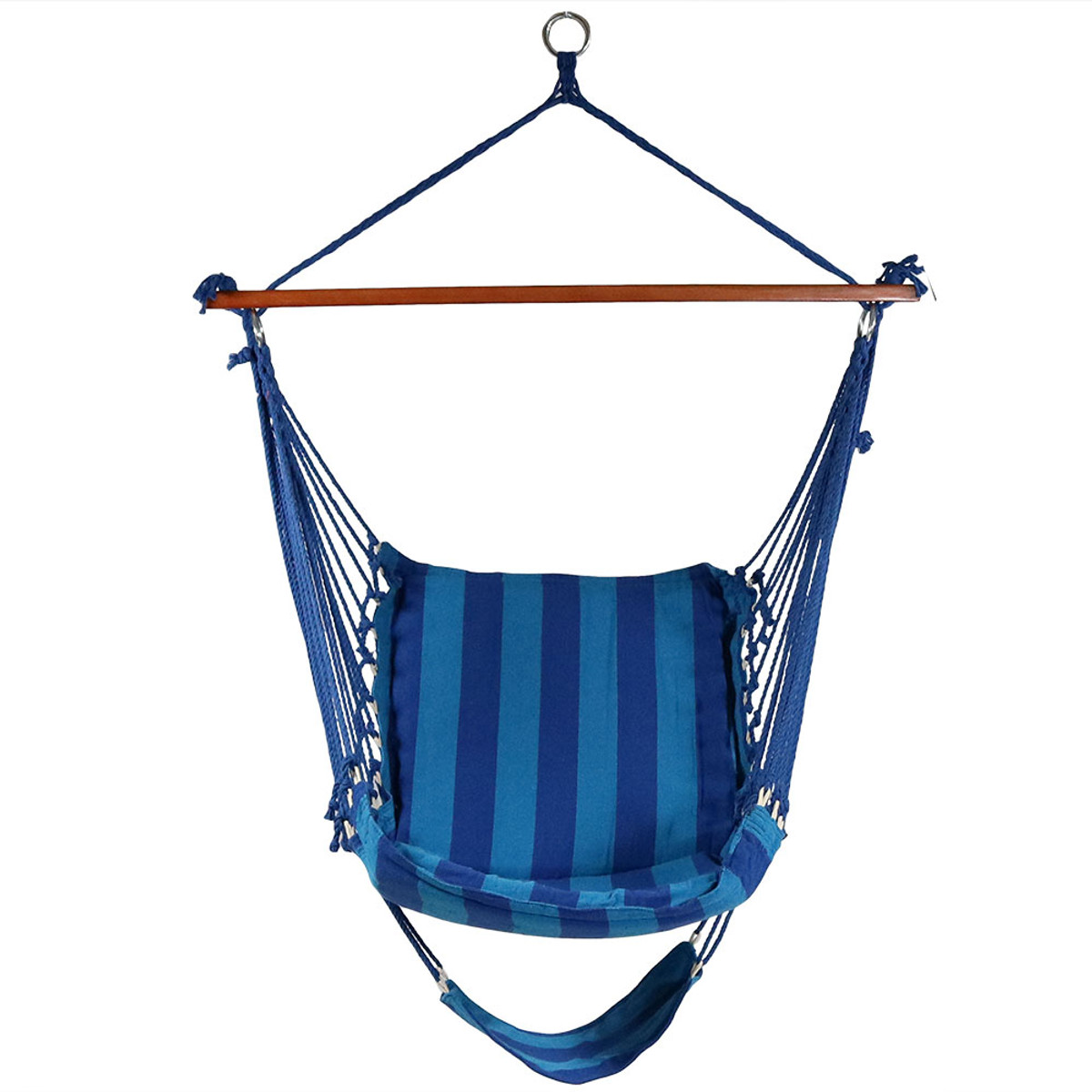 Sunnydaze Hanging Padded Soft Cushioned Hammock Chair With Footrest, 26  Inch Wide Seat