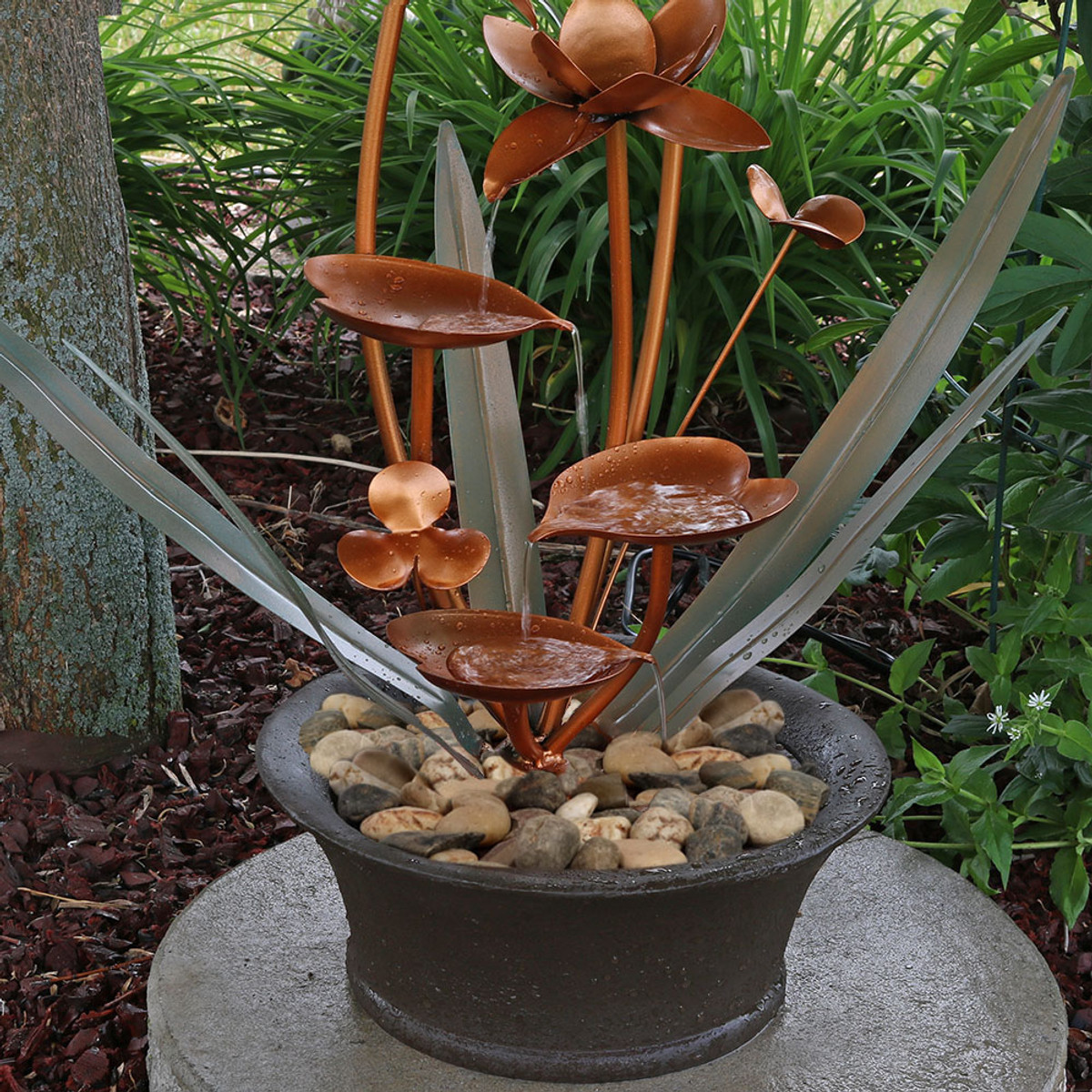 Sunnydaze Copper Flower Blossoms Outdoor Water Fountain