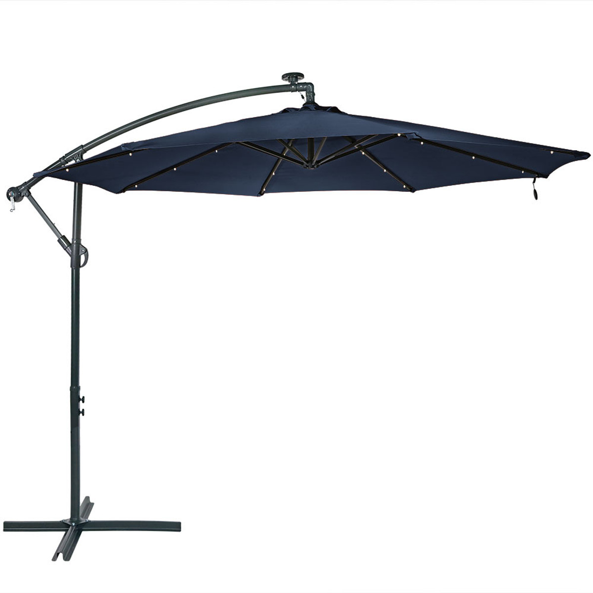 Sunnydaze Solar LED 10 Foot Offset Patio Umbrella With Cantilever, Crank,  And Cross Base