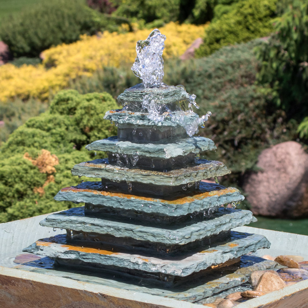 sunnydaze layered slate pyramid outdoor water fountain with led light  40 inch tall  perfect for