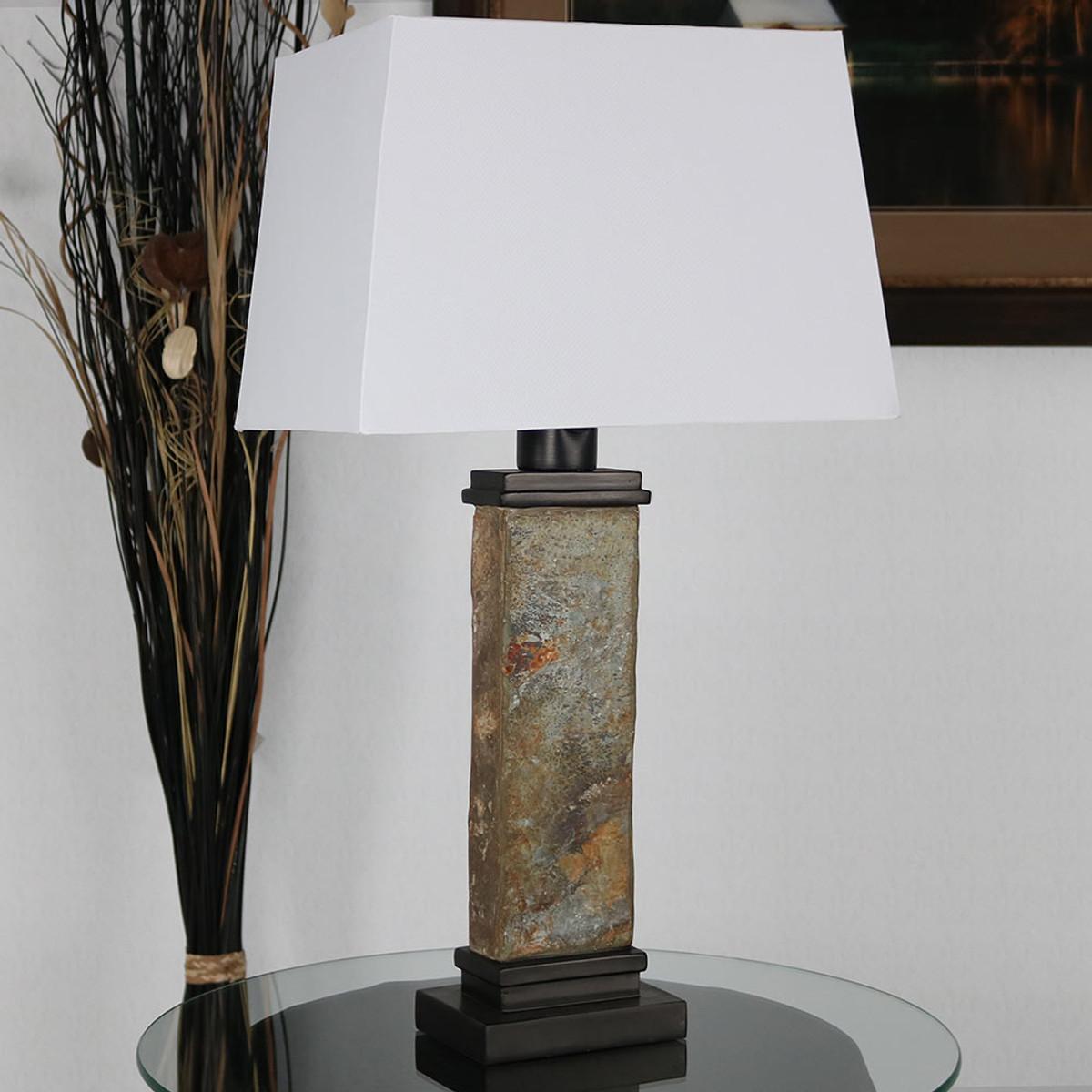 Sunnydaze indooroutdoor thin natural slate table lamp 26 inch tall sunnydaze indooroutdoor thin natural slate table lamp 26 inch tall aloadofball Gallery