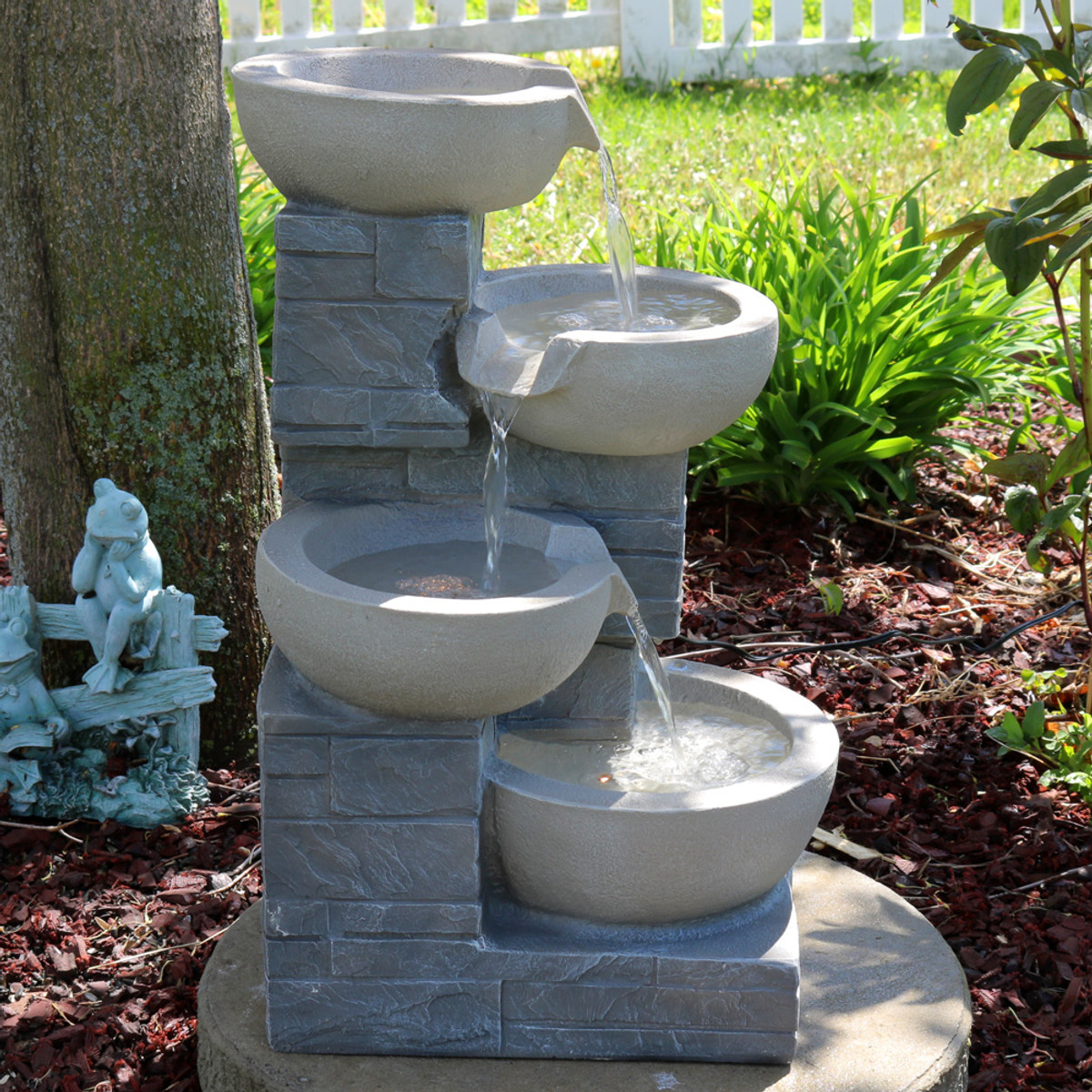 Sunnydaze 4 tier descending stone bowls outdoor water fountain with led lights includes electric submersible pump sunnydaze 4 tier descending stone bowls outdoor water fountain with led lights includes electric submersible pump mozeypictures Gallery