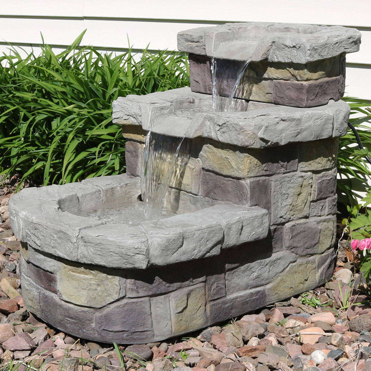 Sunnydaze 3 Tier Brick Steps Outdoor Water Fountain, 21 Inch Tall, Includes  Electric Submersible Pump