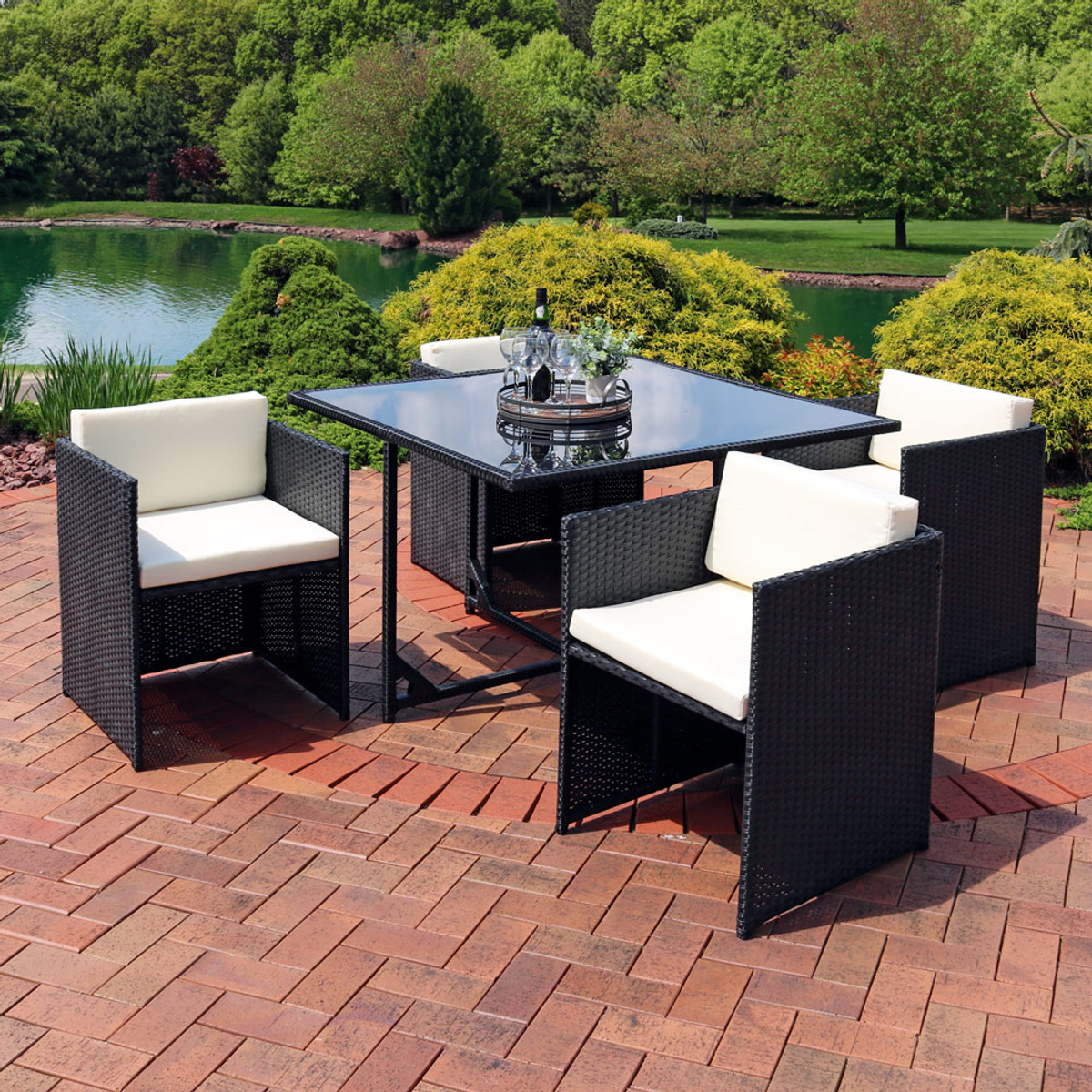 Sunnydaze Miliani 5 Piece Outdoor Dining Patio Furniture Set With Black  Wicker Rattan And Beige Cushions