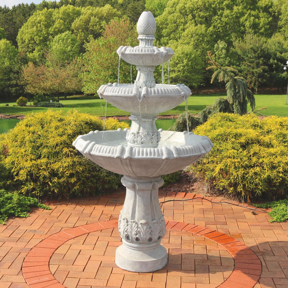 Sunnydaze 3 Tier Gothic Finial Outdoor Garden Water Fountain, 73 Inch Tall