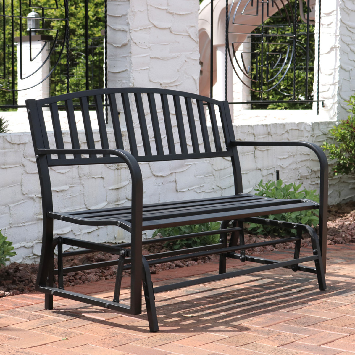Sunnydaze 50 Inch Black Steel Outdoor Patio Glider Bench