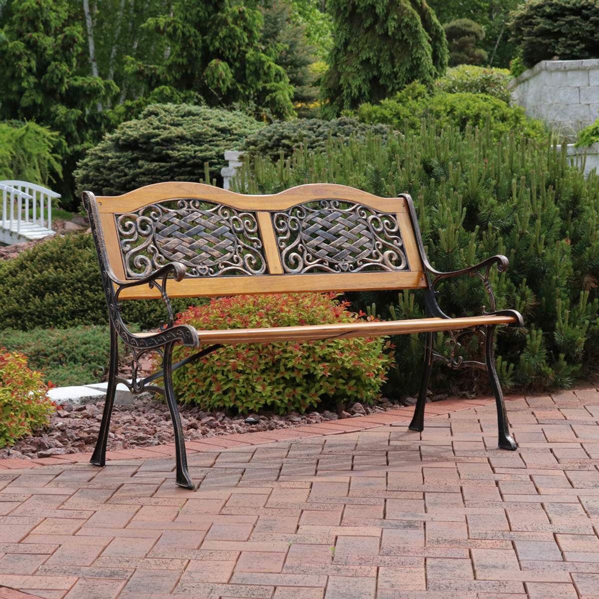 Sunnydaze 2 Person Outdoor Bench, Cast Aluminum And Wood With Ivy  Crossweave Design, 49 Inch