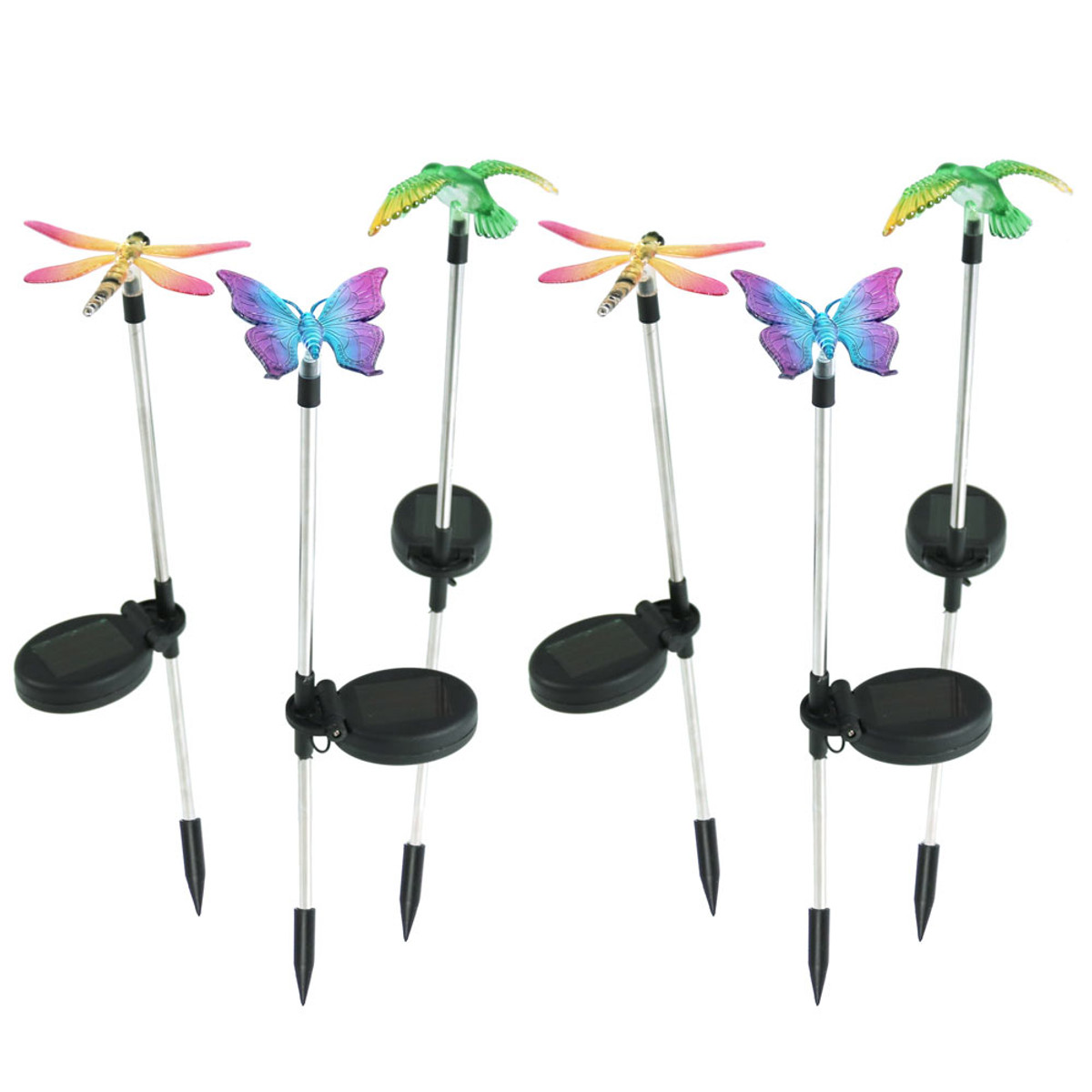 Sunnydaze Solar Powered Butterfly, Dragonfly, And Hummingbird Garden Stake  LED Light   Set Of 6