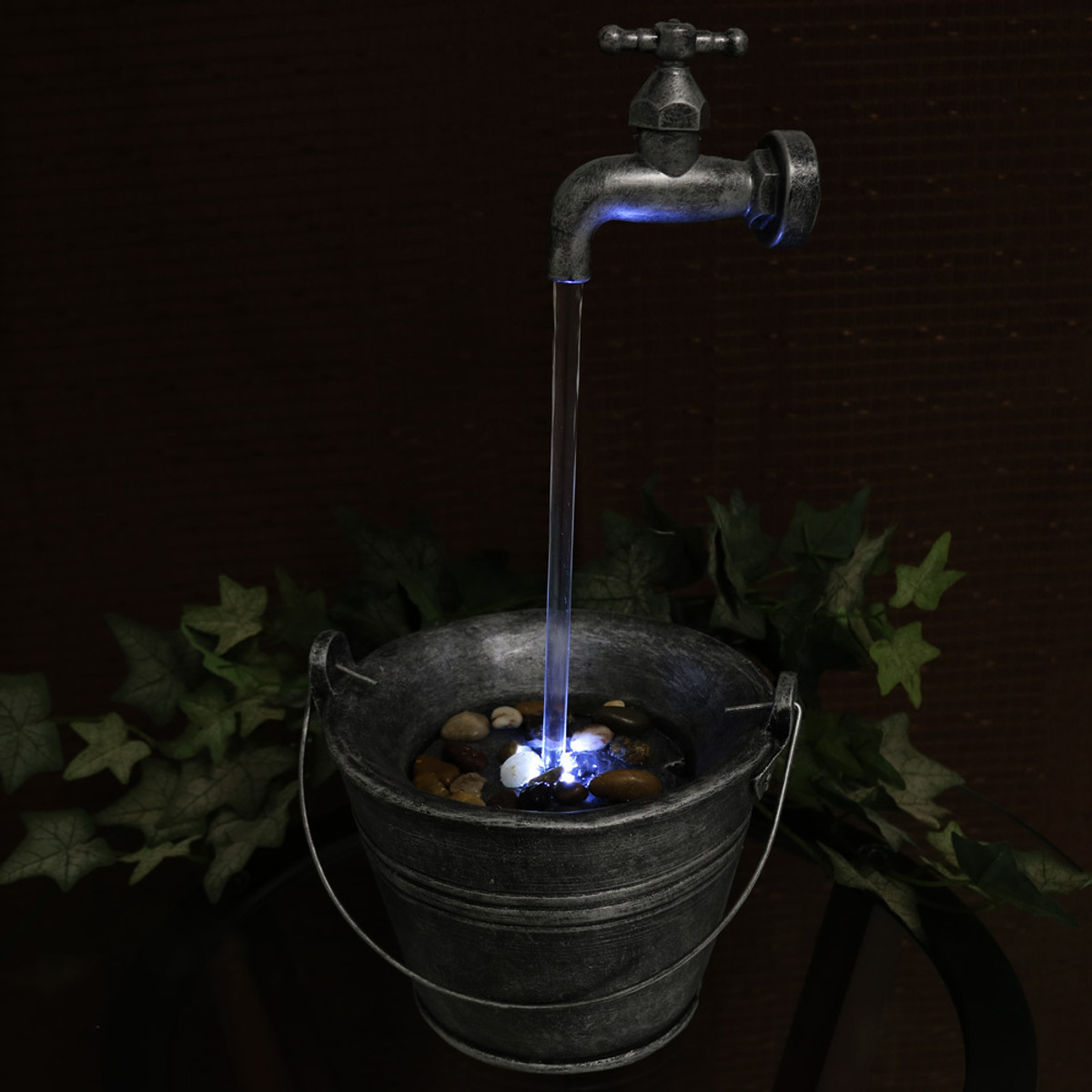 Sunnydaze Floating Faucet Indoor Tabletop Water Fountain with LED ...