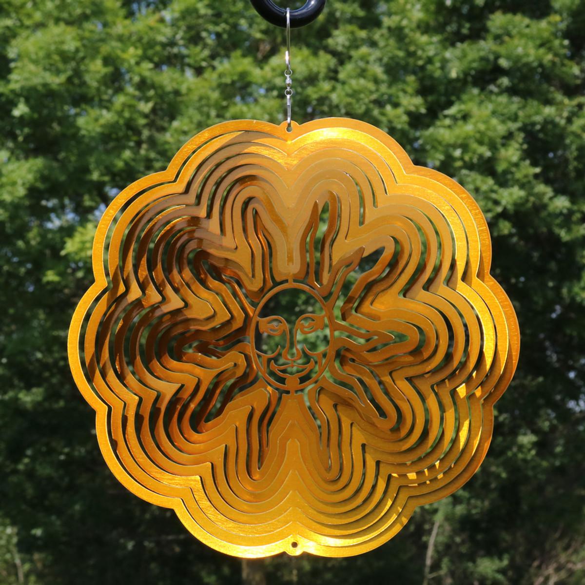 Sunnydaze 3D Sun Wind Spinner with Hook, 12-Inch| Outdoor Décor