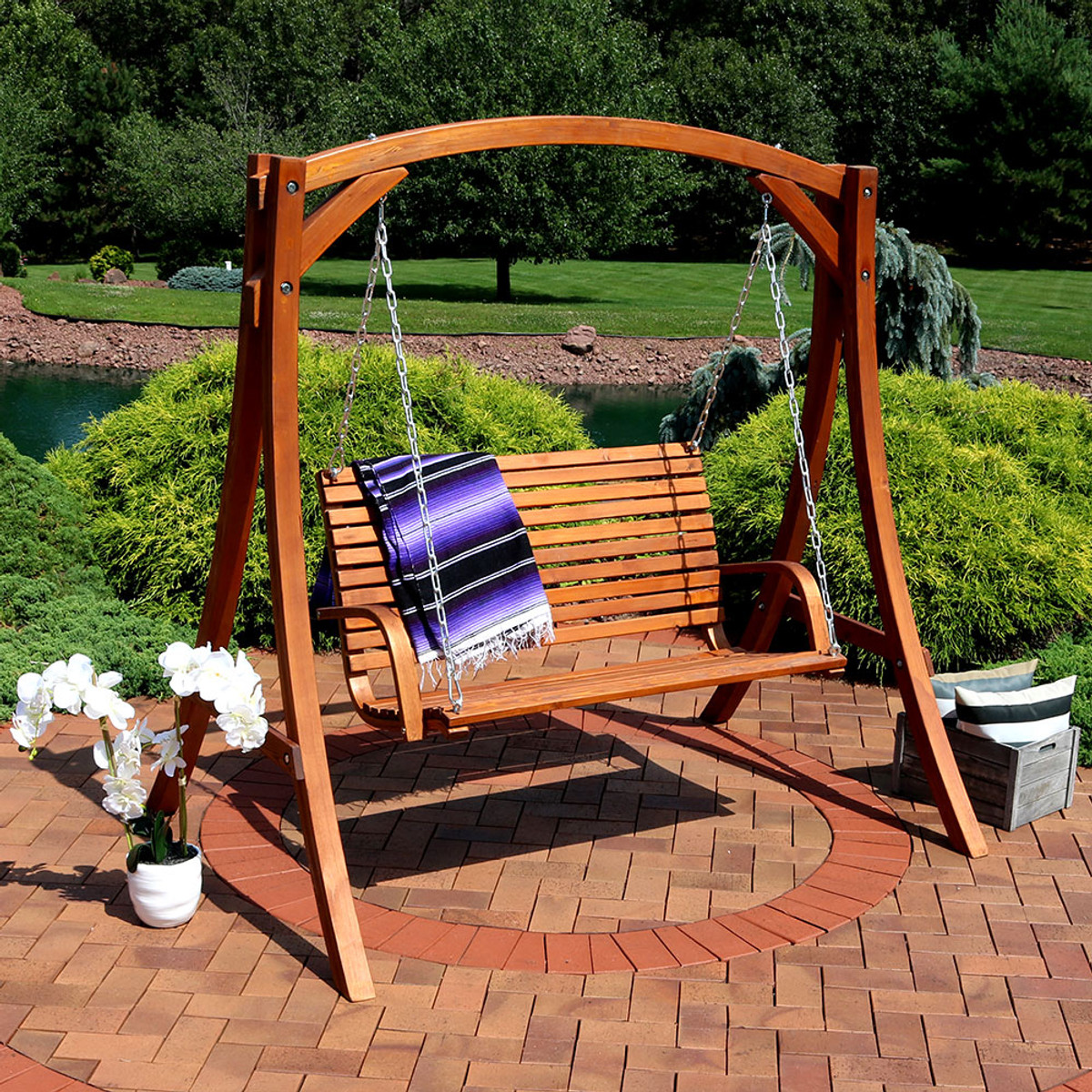 ideas deck metal chains material size patio porch full and wicker wooden outdoor furniture swings swing teak natural sturdy wood of paint color