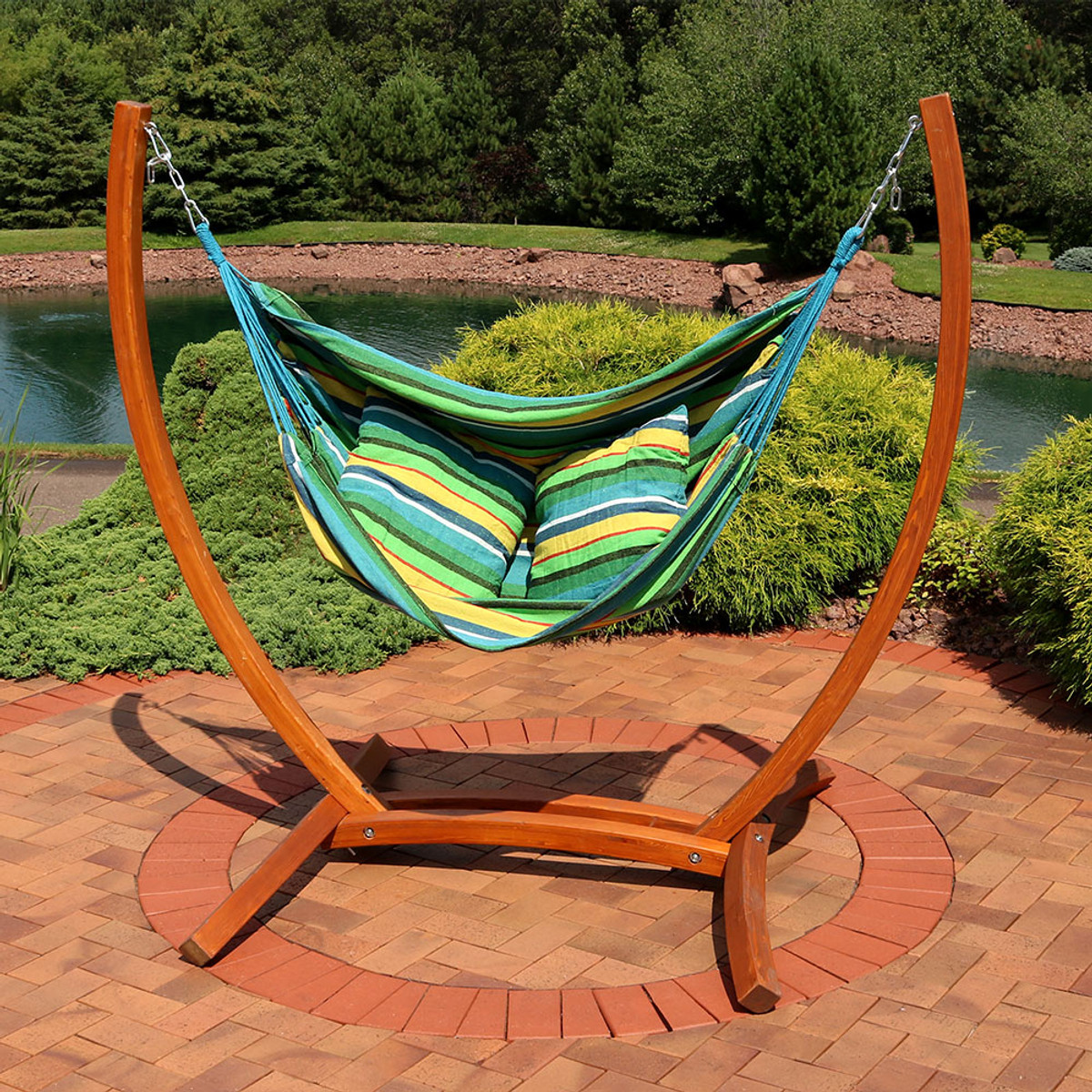 Sunnydaze Hanging Hammock Chair Swing With Sturdy Space Saving Wooden Stand  For Indoor Or Outdoor Use, Ocean Breeze