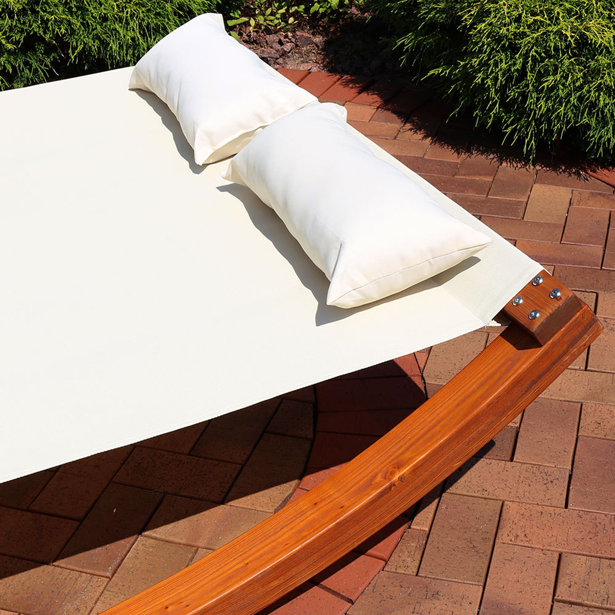 Sunnydaze Natural Colored Outdoor 2 Person Wooden Lounger