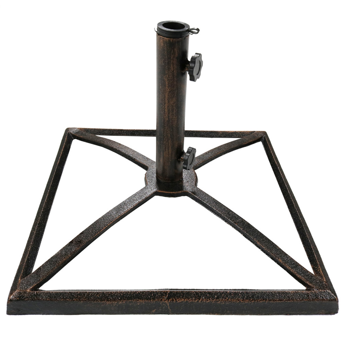 sunnydaze square bronze cast iron outdoor patio umbrella base stand 2 Inch Umbrella Base