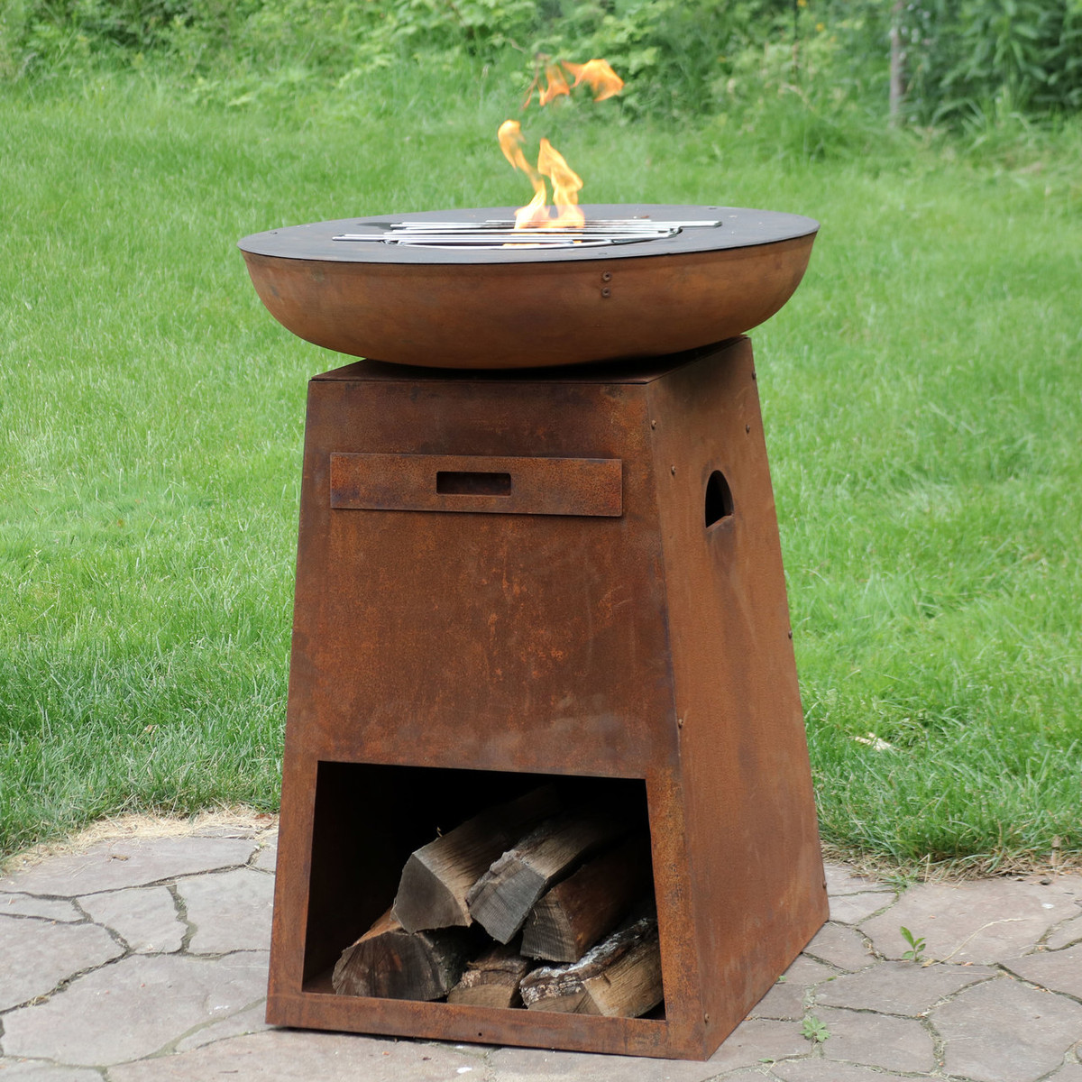 Sunnydaze Rustic Fire Pit with Cooking Edge and Built-In Log Storage ...
