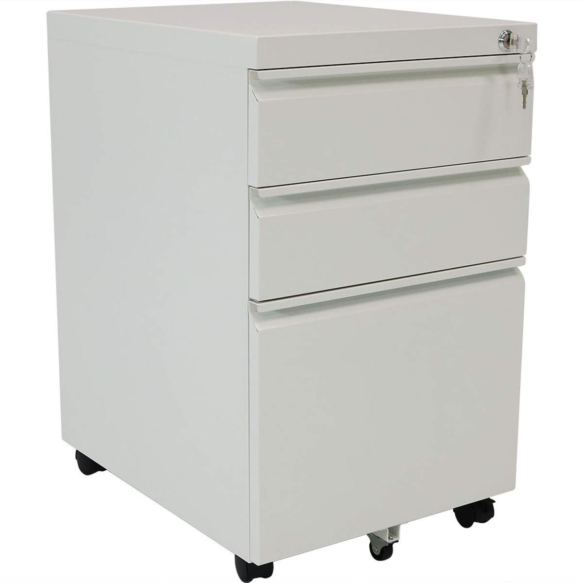 CASL Brands Rolling Steel 3 Drawer Wheeled Mobile File Cabinet With Lock  For Home Or Office