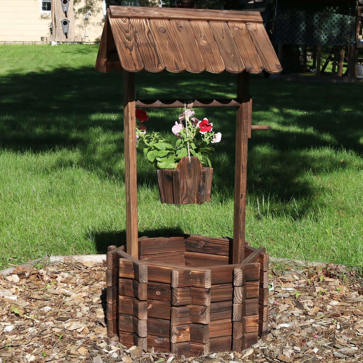 Sunnydaze Wood Wishing Well Outdoor Garden Planter, 45 Inch Tall