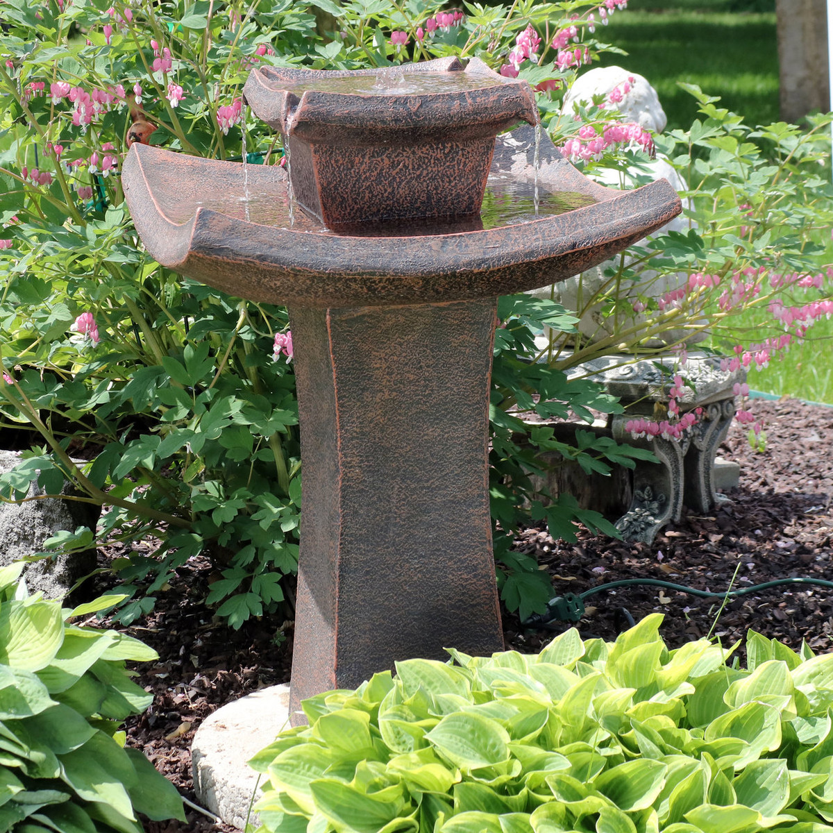 Sunnydaze Modern Zen 2 Tier Outdoor Water Fountain, 30 Inch Tall