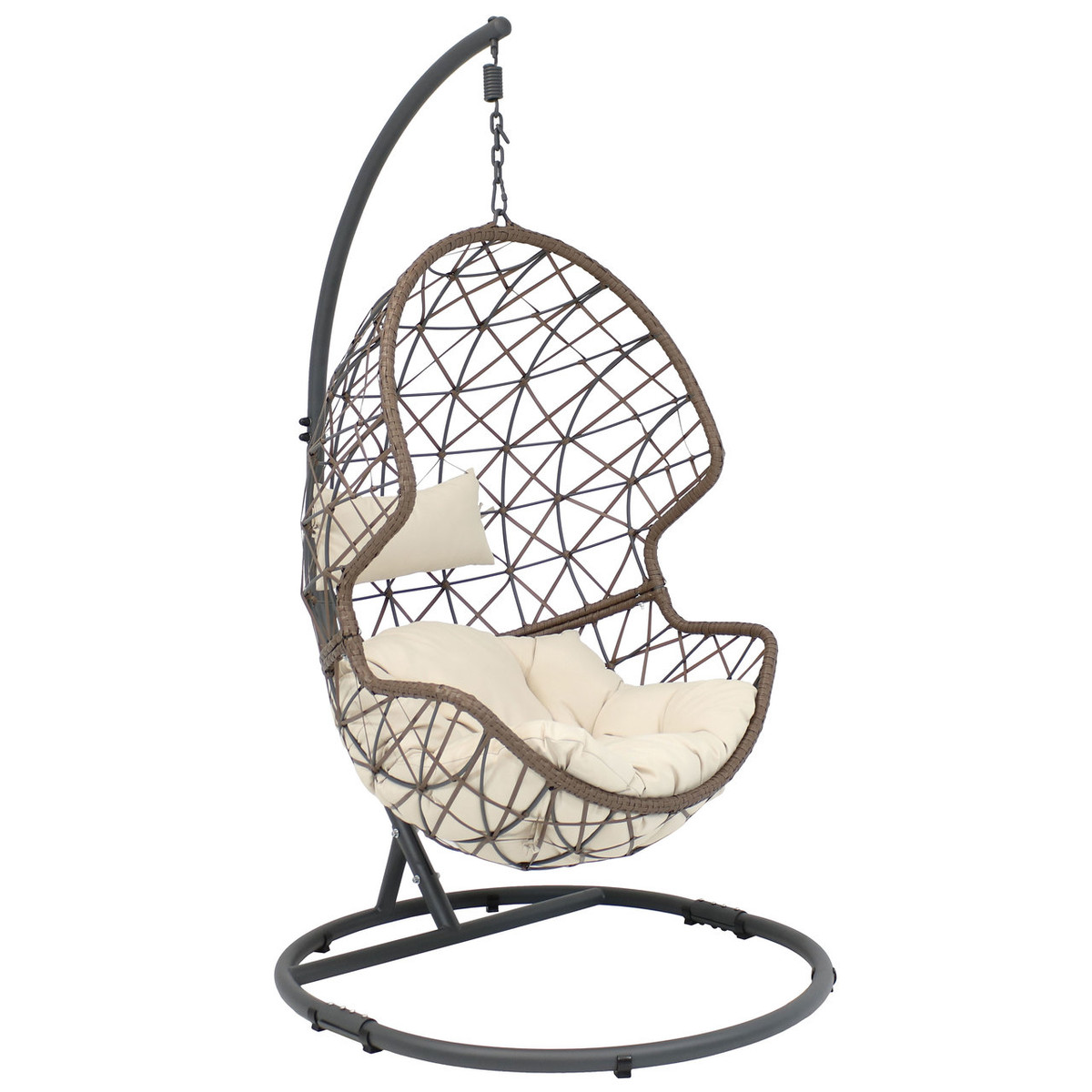Brand-new Sunnydaze Danielle Hanging Egg Chair with Steel Stand Set, Resin  SE56