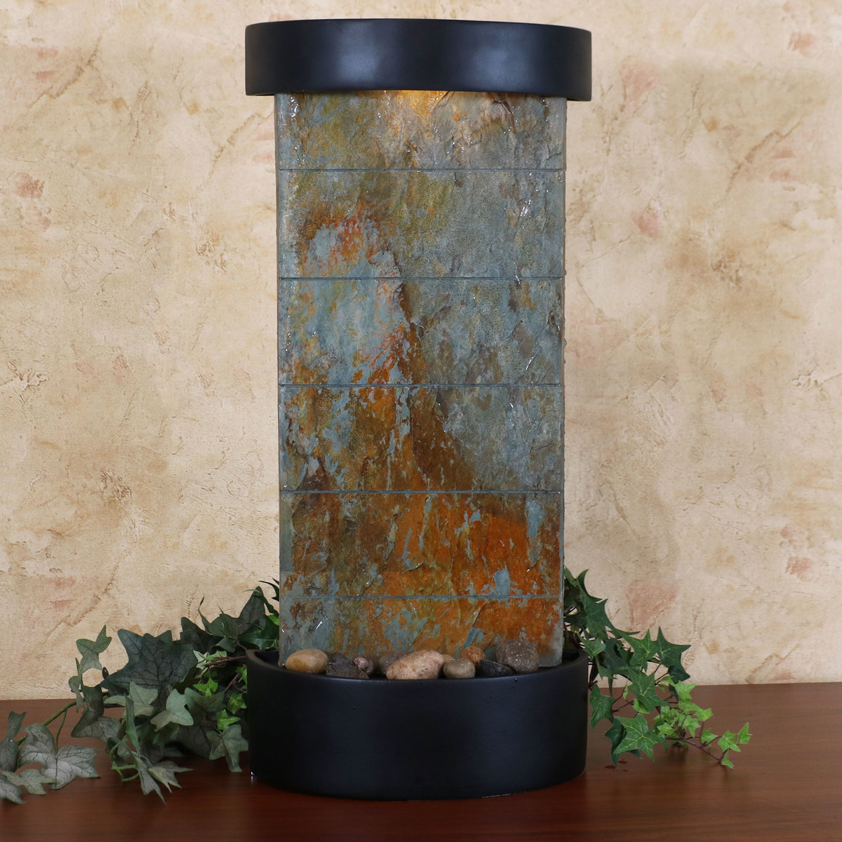 Slate indoor wall or tabletop water fountain slate facade with black finished frame 25 inch